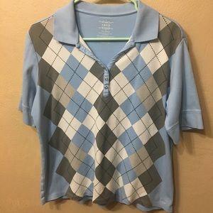 Izod Light Blue Argyle Plaid Polo Shirt